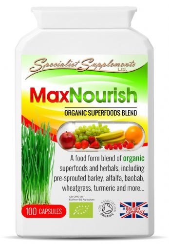 Maxnourish Organic Whole Food Suppliment Superfood Blend 100 Vegetarian Caps